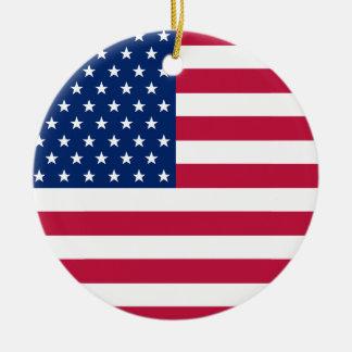 Ornement Rond En Céramique Le drapeau des Etats-Unis tient le premier rôle