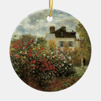 Ornement Rond En Céramique Le jardin de Monet à Argenteuil par Claude Monet