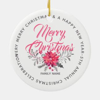 Ornement Rond En Céramique Le Joyeux Noël fleurit le bouquet et la