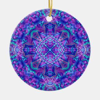 Ornement Rond En Céramique Le kaléidoscope pourpre et bleu ornemente 6 formes