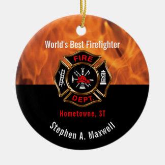Ornement Rond En Céramique Le meilleur sapeur-pompier du monde flambe la