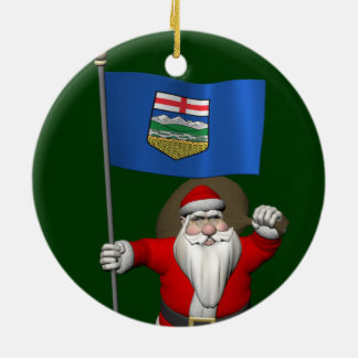 Ornement Rond En Céramique Le père noël avec le drapeau d'Alberta CDN
