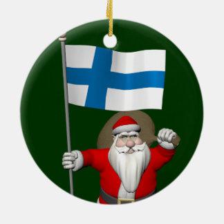 Ornement Rond En Céramique Le père noël avec le drapeau de la Finlande