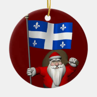 Ornement Rond En Céramique Le père noël avec le drapeau de Québec