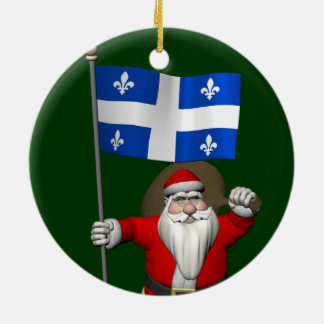 Ornement Rond En Céramique Le père noël avec le drapeau de Québec CDN