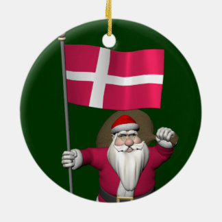 Ornement Rond En Céramique Le père noël avec le drapeau du Danemark Dannebrog