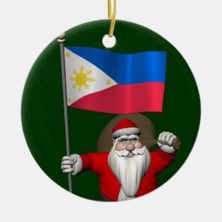 Ornement Rond En Céramique Le père noël doux avec le drapeau des Philippines
