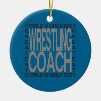 Ornement Rond En Céramique Le plus grand entraîneur de lutte des mondes