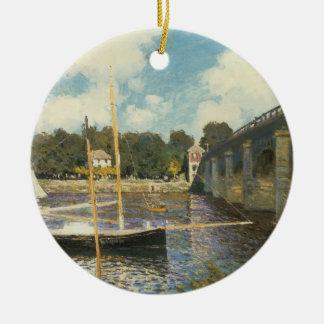 Ornement Rond En Céramique Le pont en route à Argenteuil par Claude Monet