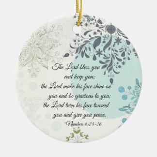 Ornement Rond En Céramique Le seigneur Bless You, 6h24 de nombres, Noël de