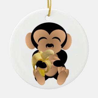 Ornement Rond En Céramique Le singe avec une banane