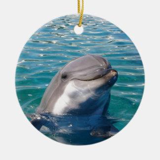 Ornement Rond En Céramique Le sourire de dauphin, personnalisent comme désiré