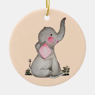 Ornement Rond En Céramique L'éléphant mignon de bébé d'aquarelle avec
