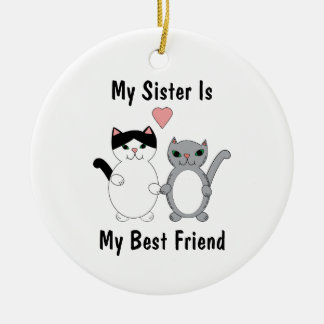 Ornement Rond En Céramique Les chats de Kitty de meilleur ami de soeur