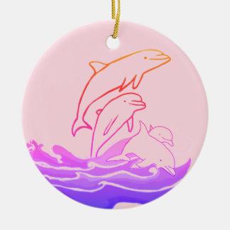 Ornement Rond En Céramique Les dauphins sautant l'ornement de cercle de