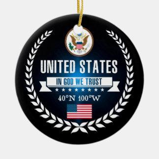 Ornement Rond En Céramique Les Etats-Unis