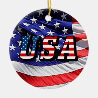 Ornement Rond En Céramique Les Etats-Unis - Drapeau américain