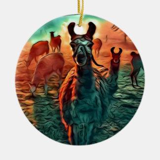 Ornement Rond En Céramique Les lamas observent