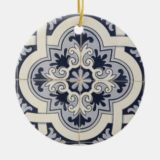 Ornement Rond En Céramique Les tuiles du Portugal ont personnalisé l'ornement