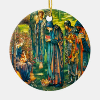 Ornement Rond En Céramique L'étoile de l'ornement de cercle de Bethlehem