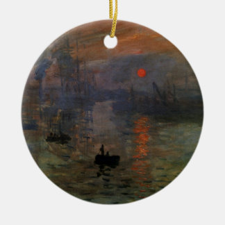 Ornement Rond En Céramique Lever de soleil d'impression par Claude Monet, art