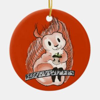 Ornement Rond En Céramique L'hiver : Motif des vacances de l'écureuil sur le