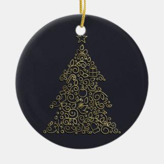 Ornement Rond En Céramique Ligne ornementale arbre de Noël de Noël d'or