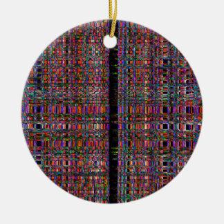 Ornement Rond En Céramique Lignes au néon rougeoyantes abstraites motif