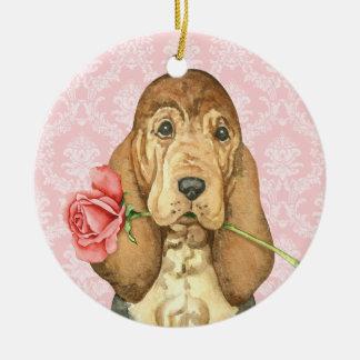 Ornement Rond En Céramique Limier rose de Valentine