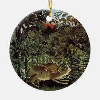 Ornement Rond En Céramique Lion affamé par Henri Rousseau, animal sauvage