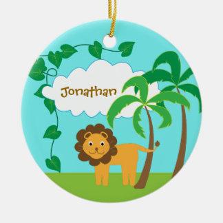 Ornement Rond En Céramique Lion dans la jungle avec des palmiers