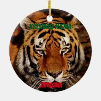 Ornement Rond En Céramique Lion de la Tanzanie/ornement faits sur commande