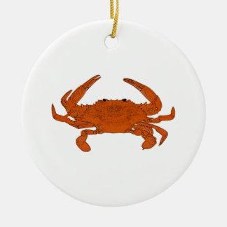 Ornement Rond En Céramique Logo cuit à la vapeur de crabe (crabe bleu