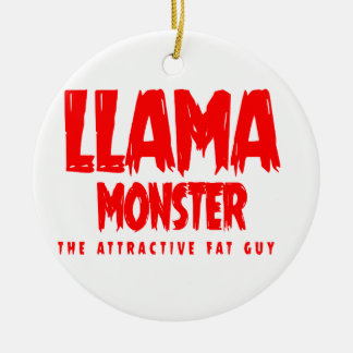 Ornement Rond En Céramique Logo de rouge de monstre de lama
