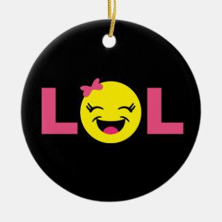 Ornement Rond En Céramique LOL Girly Emoji