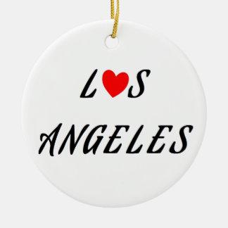 Ornement Rond En Céramique Los Angeles coeur rouge