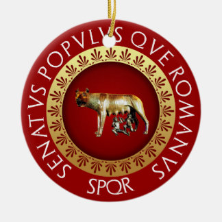 Ornement Rond En Céramique Loup de Capitoline