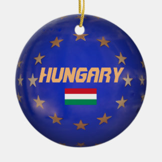 Ornement Rond En Céramique L'UE de la Hongrie marquent l'ornement de Noël