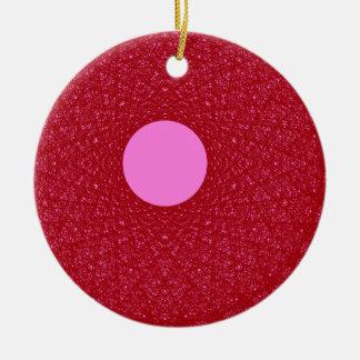 Ornement Rond En Céramique lune rose rayonnant l'art abstrait de lumière