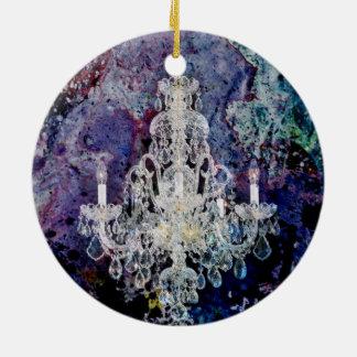 Ornement Rond En Céramique lustre d'Edwardian d'aquarelle d'impressionisme
