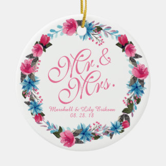 Ornement Rond En Céramique M. et Mme Elegant Floral Wedding Ornament