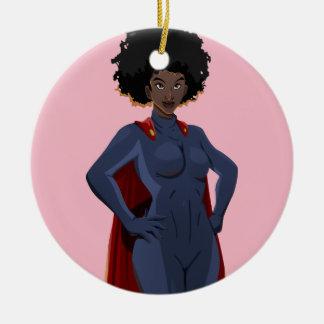 Ornement Rond En Céramique Madame de superhéros