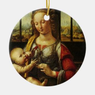 Ornement Rond En Céramique Madonna de l'oeillet par Leonardo da Vinci
