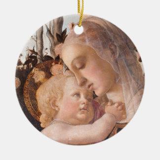 Ornement Rond En Céramique Madonna et bébé Jésus