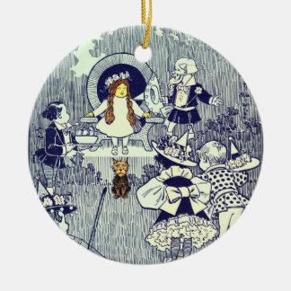 Ornement Rond En Céramique Magicien d'Oz vintage, Dorothy rencontre le