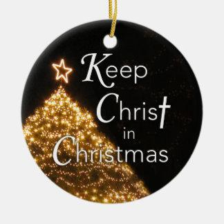 Ornement Rond En Céramique Maintenez le Christ dans l'ornement de Noël,