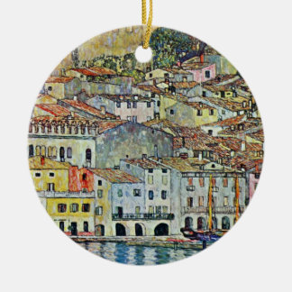 Ornement Rond En Céramique Malcesine sur le policier de lac par Gustav Klimt