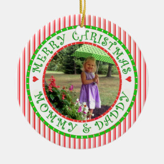 Ornement Rond En Céramique Maman de Joyeux Noël et sucre de canne de photo de
