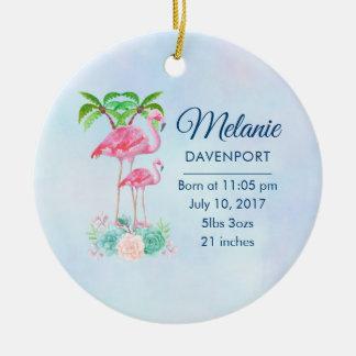 Ornement Rond En Céramique Mamans et bébé roses de flamant avec des palmiers