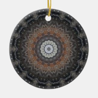 Ornement Rond En Céramique Mandala argenté et noir minimisé